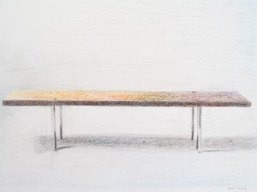 Bench from the Tasmanian Wood Design Collection, pencil on paper, 18cmx23cm
